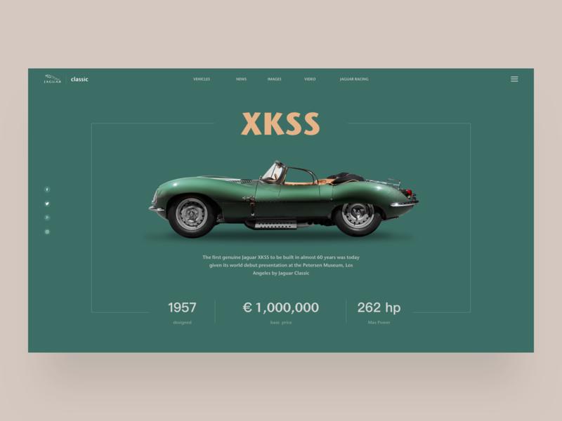 Juguar Classic Xkss web concept juguar design ui car