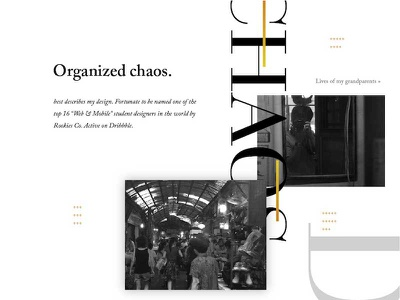 Organized Chaos website design landing whitespace