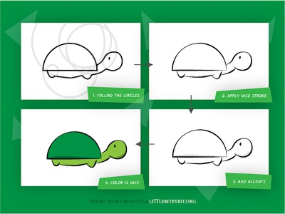 """""""Bit by Bit"""" Mascot turtle drawing family low-income students nonprofit teaching computer science"""