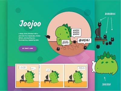 Landing for Joojoo website landing comic dinosaur joojoo