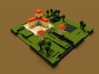 Guards by Barracks, Voxel Art 3d design voxel art