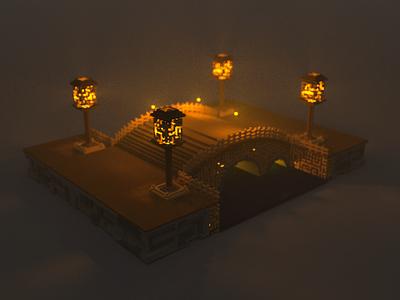 Bridge with Lanterns, Voxel Art 3d design voxel art