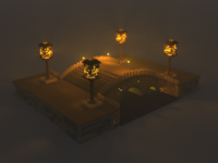 Bridge with Lanterns, Voxel Art