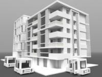 Voxelized Modern Apartment city car apartment building model 3d low poly voxel art