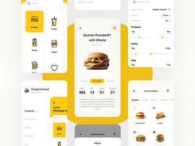 Fast Food - Nutrition App app app design food app fastfood burgers mcdonald food concept minimal flat ux ui design