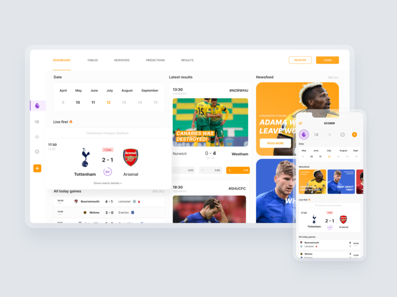 Football Leagues Dashboard - Website and Mobile App Design concept mobile white design dashboard ui news app design football app dashboard responsive web design pwa rwd responsive website ux ui minimal flat design