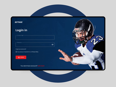 BETFARE - Sport Bet Website Design website flat form input scroll nfl ui animation app design app process ux ui animation design sport bet