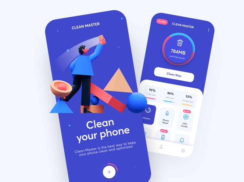 Clean Your Phone - Mobile App motion uxdn illustration 3d artist 3d art 3d android app android ios ux ui mobile ui mobile app mobile app