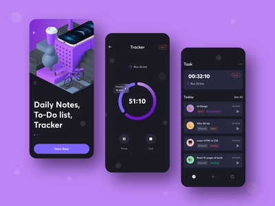Tasker - Mobile App glassmorphism mobile app tracker task task manager ios figma design dark theme dark mode app design 3d ux ui app