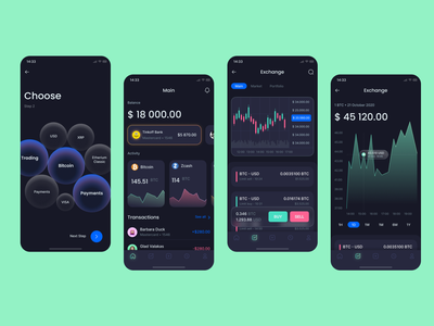 Crypter UI Kit — Banking, Crypto, Trading 💸 ios glassmorphism 3d animation dark theme dark mode dark app design 3d art 3d ux ui app
