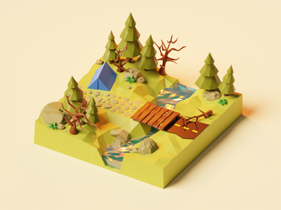 Missing spring...🌱 river 3d illustration low poly model lowpolyart diorama concept camping forest scene isometric render spring nature lowpoly blender branding illustration 3d