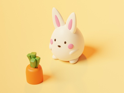 Some bunny and his carrot 🐰🥕 hero character minimalistic egg illustration model holiday scene render rabbit blender 3d art 3d illustration 3d card spring carrot easter bunny