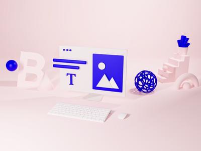 Bling iD: 3D illustration ui ux organic web geometry web key visual webdesign geometry pink identity illustration branding abstract geometric set render blender 3d