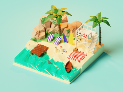 Summer vibes 🏖️ ocean 3d illustration low poly model lowpolyart diorama concept sea beach scene isometric render summer nature lowpoly blender branding illustration