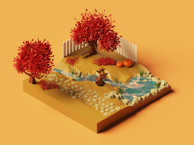 Autumn cometh 🍂 pumpkin season low poly leaves october halloween render isometric lowpoly nature illustration diorama concept blender 3d illustration 3d park forest autumn fall