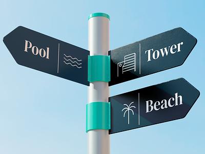 Bahia Mar Signs tropical minimalist palm mar playa tourism hotel beach icon logo branding signage