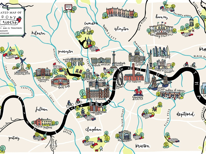 Telegraph Lost Rivers london cartography map illustration