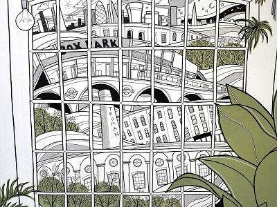 Adidas Mural Crop london city window illustrations murals large format posca illustrator live art adidas mural illustration