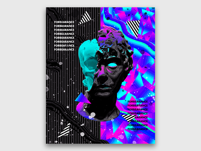 Abstract Vaporwave Art photoshop modern trendy colorful poster design iridescent gradient cyberpunk chromatic vaporwave art abstract