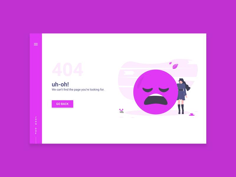 404 Page - Daily UI #008 page 404 error ui adobexd uxdesign uiux uidesign interaction design dailyui