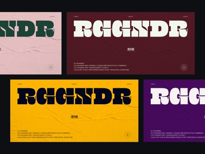 RGGNDR - Color research minimal clean brand branding logo palette colors type typogaphy typo