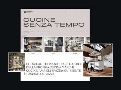 Marchi Cucine ux branding forniture kitchen typo light website minimal ui