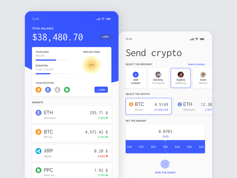 Crypto App app gradient card mobile finance cryptocurrency bitcoin