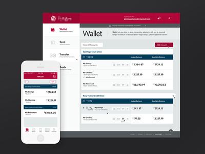 Banking web site dashboard bank banking wallet mobile app