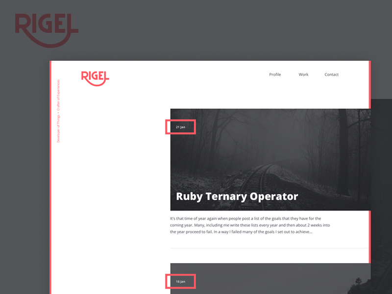 Rigel.co site blog redesign branding logo type home page homepage rigel