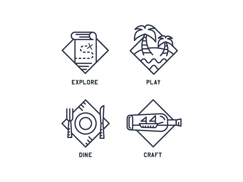 Adventure icons icon icons set beach nautical adventure palm fork eat ship map knife