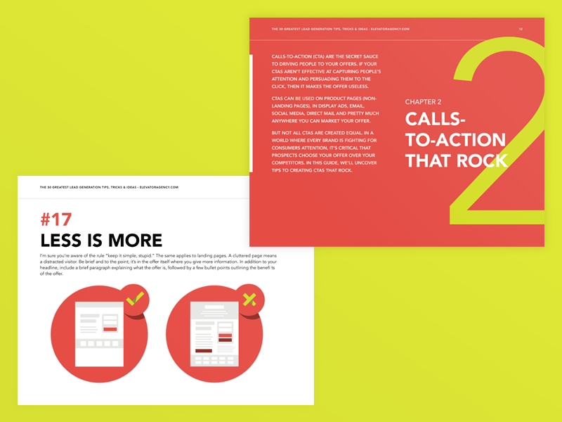 30 Tips for Lead Gen ebook book spread layout leads