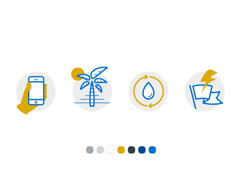 Duotone Spot Illustrations illustrations phone palm tree water bolt flag spot