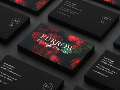 Furrow Rebrand flowers business card cards