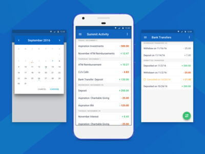 Summit Checking - Android material fintech finance checking banking bank