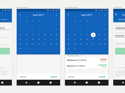 Date Picker transfer transfers aspiration checking banking summit android picker date calendar material