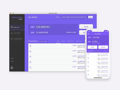 Metronome Wallet ux ui currency balance desktop mobile app ethereum eth erc20 blockchain crypto wallet metronome met