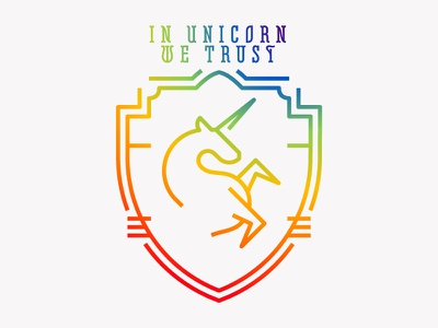 In Unicorn We Trust rainbow heraldry unicorn
