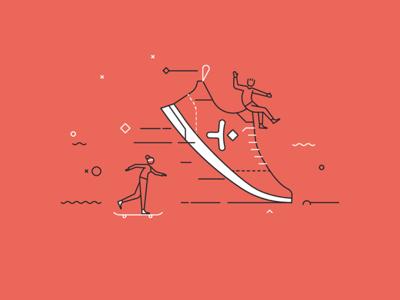 Pixine   Agiles & Rapides skate shoe illustration