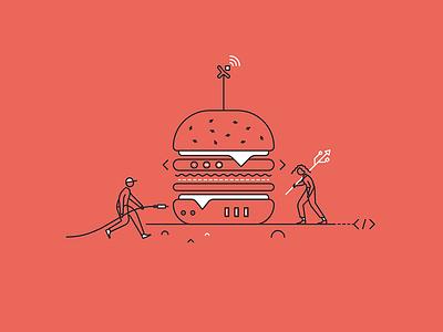 Pixine | Connectes & Gourmands connected burger illustration