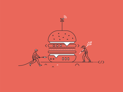 Pixine   Connectes & Gourmands connected burger illustration