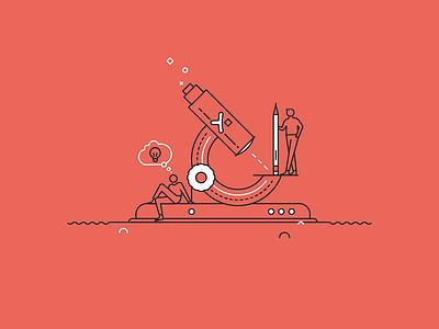 Pixine | Creatifs & Curieux creativity idea microscope illustration