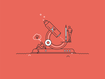 Pixine | Creatifs & Curieux creativity idea microscope illustration