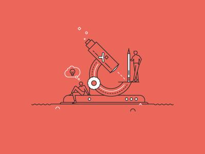 Pixine   Creatifs & Curieux creativity idea microscope illustration