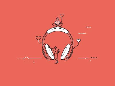 Pixine | À l'écoute & Attentionnés love headphone illustration