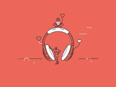 Pixine   À l'écoute & Attentionnés love headphone illustration