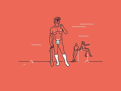 Pixine | Sérieux ou pas bowie skateboard michelangelo david illustration