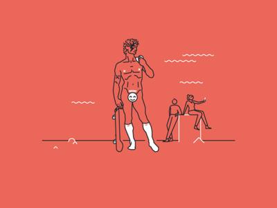 Pixine   Sérieux ou pas bowie skateboard michelangelo david illustration