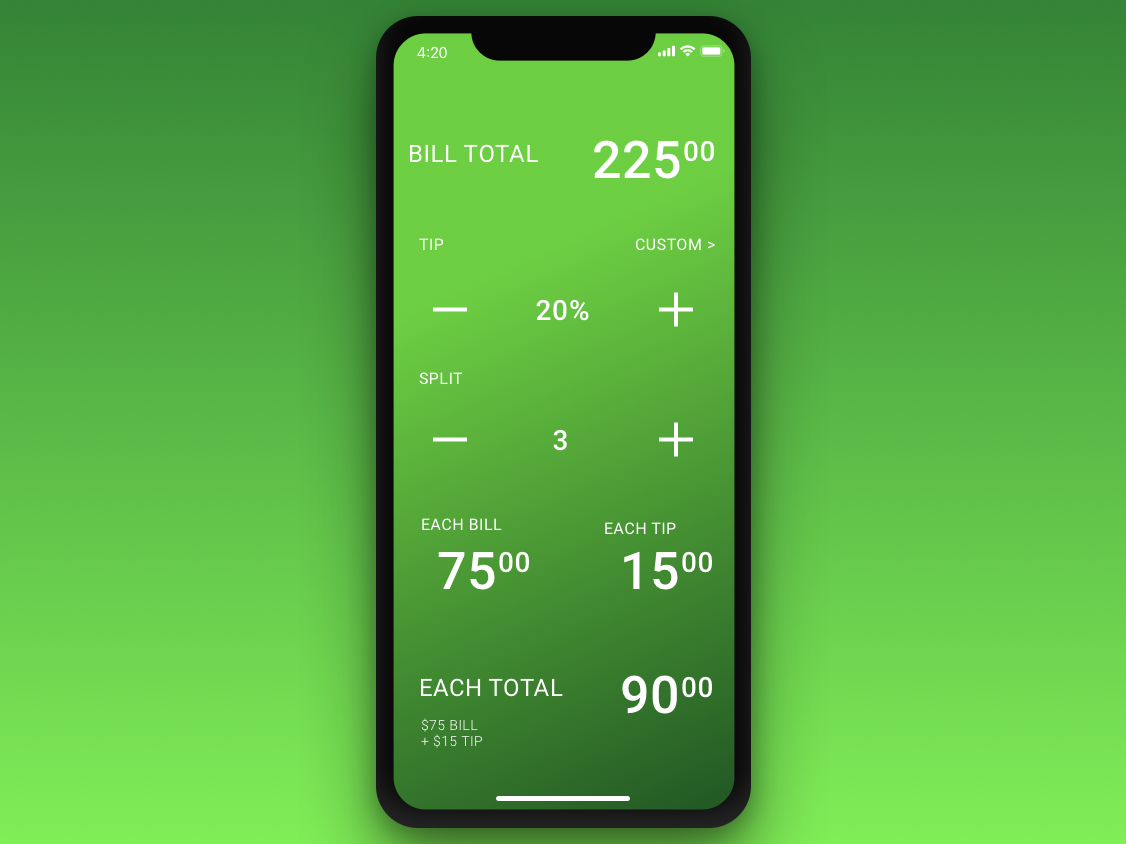 Daily Ui 4   Tip Calculator (Compliant) calculator problem solving ui dailyui design