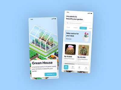 Green House - Marketplace for buy plant and plant needs uiux dailyuichallenge ecommerce design mobile design product design landingpage uidesign plant marketplace ecommerce app