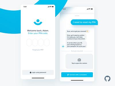Fintech App – Reset PIN (CUI) web design typography product design print mobile illustration branding animation mobile app design interaction designer conversational ui cui